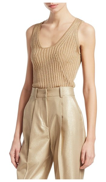 Emporio Armani rib-knit lurex tank top in gold - This wardrobe essential receives a knit sheen...