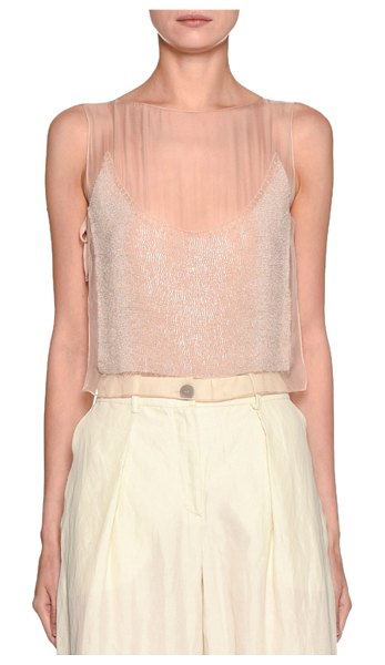 Emporio Armani Shimmer Embroidered Shell in pink