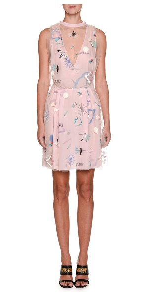 Emporio Armani Sleeveless Embellished Silk Dress in pink - Emporio Armani silk dress with applique embellishments...