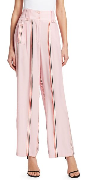 Emporio Armani striped fluid silk pants in pink - Cut from fluid silk, these high-waisted pants are cut to...