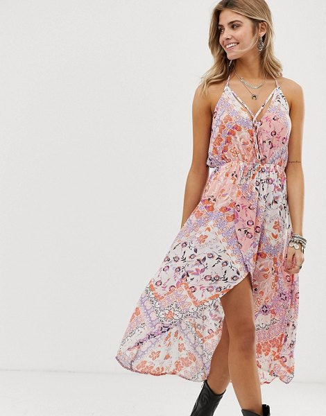 En Cr me en creme floral and tile print hi-low dress in creampurple