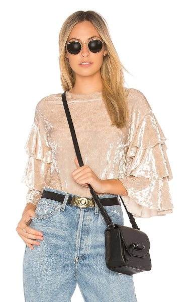 Endless Rose Crushed Velvet Top in beige - Poly blend. Hand wash cold. Ruffled sleeves. Hidden back...