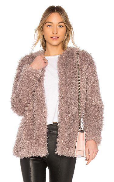 Endless Rose Faux Fur Jacket in dusty lavender - Self: 80% acrylic 20% polyLining: 70% poly 30% cotton....