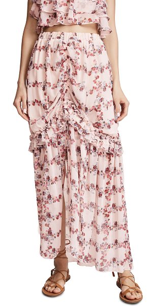 Endless Rose fence of roses ruffled skirt in fence of roses - Fabric: Gauze Ruched front with tie detail Maxi length...