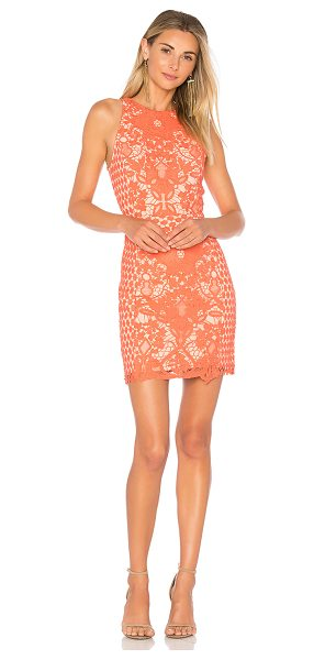 Endless Rose High Neck Floral Crochet Dress in coral - Self, Contrast & Lining: 100% poly. Hand wash cold....
