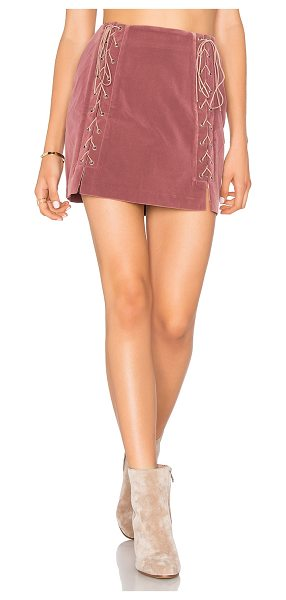 "Endless Rose Lace Up Skirt in mauve - ""Self & Lining: 100% poly. Dry clean only. Fully lined...."