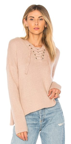 Endless Rose Lace Up Sweater in taupe - 42% nylon 25% viscose 18% rabbit hair 15% wool. Hand...