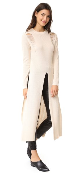 Endless Rose long knit sweater in champagne - This loose endless rose maxi sweater has long slits at...