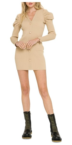 Endless Rose long sleeve button cardigan sweater dress in beige