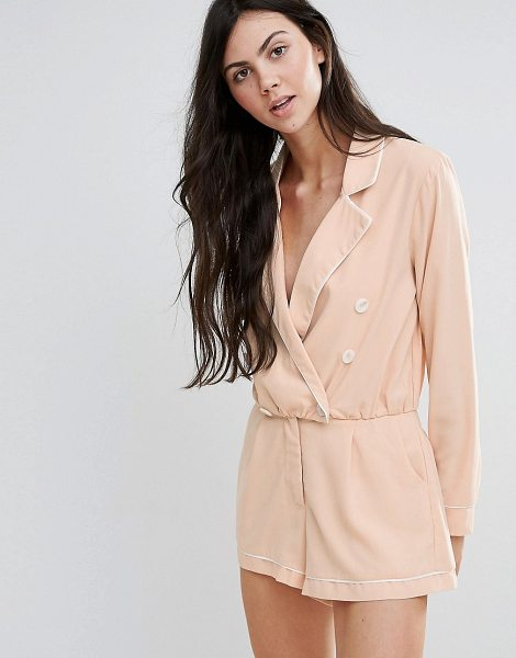 "Endless Rose Long Sleeve Tailored Romper in pink - """"Romper by Endless Rose, Woven fabric, V-neck, Notch..."