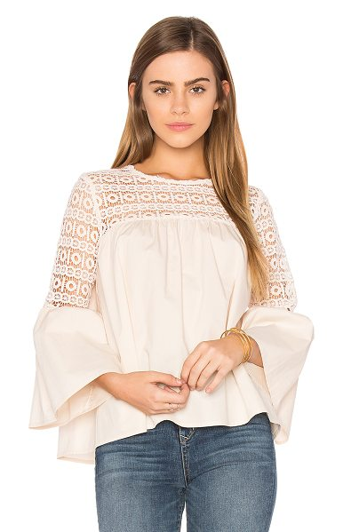 Endless Rose Louvre Top in blush - Self: 100% cottonContrast: 100% poly. Hand wash cold....