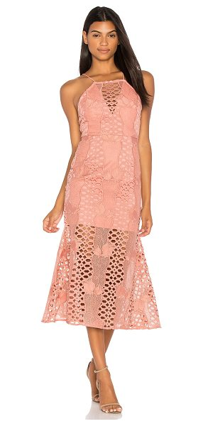 Endless Rose Mermaid Fit Lace Dress in pink - Poly blend. Hand wash cold. Fully lined. Allover crochet...