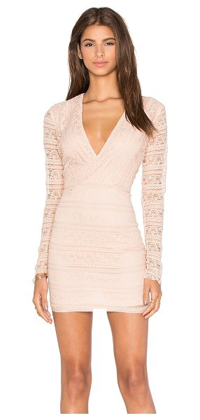 Endless Rose Miamell Woven Dress in blush - Nylon blend. Hand wash cold. Fully lined. Lace fabric....