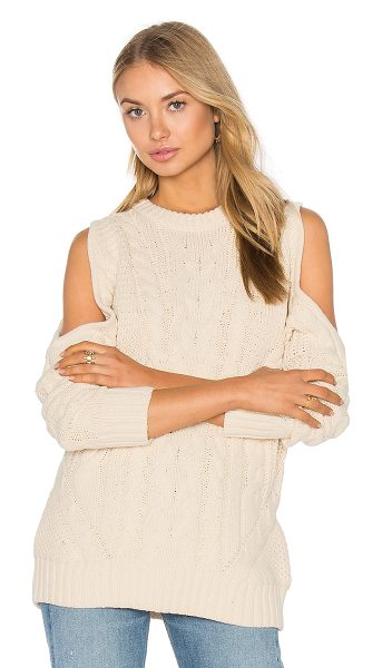 Endless Rose Open Shoulder Sweater in beige - 55% acrylic 45% cotton. Hand wash cold. ENDR-WK6....