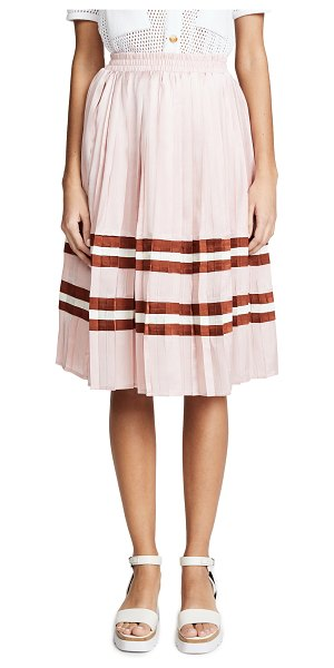 Endless Rose pleated midi skirt in mauve combo - Fabric: Polished plain weave Contrast stripes Knee...