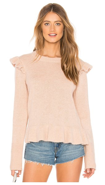 Endless Rose Ruffle Detail Angora Sweater in beige - 70% nylon 25% acrylic 5% mohair. Hand wash cold. Knit...