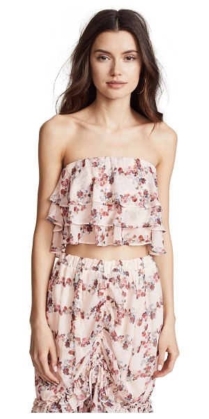 ENDLESS ROSE ruffled fence crop top in fence of roses - Fabric: Crinkled chiffon Layered ruffles Floral print...