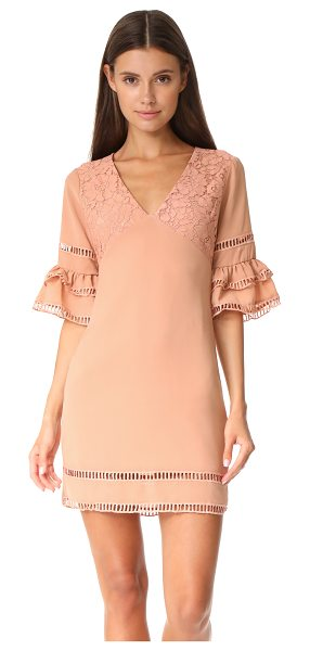 Endless Rose ruffled sleeve dress with trim detail in nude peach - An endless rose dress with tiered sleeves and a lace...