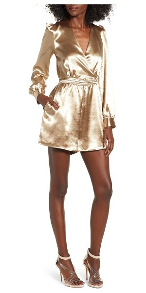 Endless Rose satin romper in gold - Step out on the town in undeniably glam style in a silky...