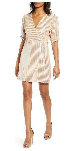 Endless Rose sequin wrap dress in pink - Sequined stripes add shimmering glamour to this...