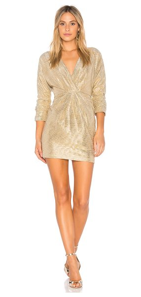 Endless Rose Surplice Dress in gold - Self: 98% poly 2% spandexLining: 100% poly. Hand wash...