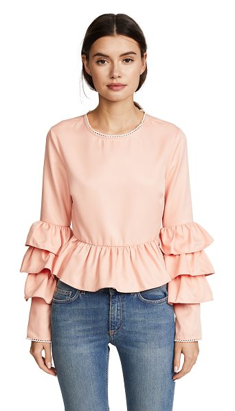 Endless Rose tiered ruffle sleeve peplum blouse in nude pink - Fabric: Silky twill Pullover style Waist-length style...