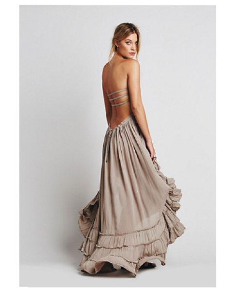 Endless Summer Extratropical dress in taupe - Crinkly strapless maxi dress made from our sheer and...
