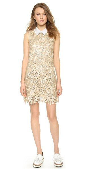 English Factory Daisy lace shift dress in gold - This lace ENGLISH FACTORY shift dress has a scalloped,...