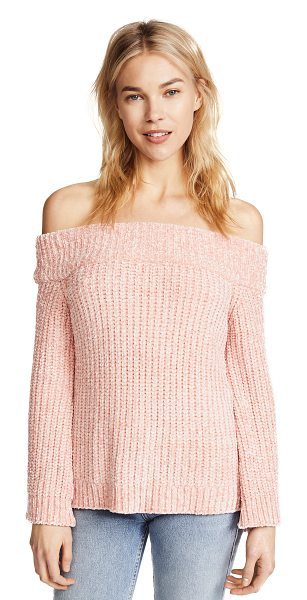 ENGLISH FACTORY knit off shoulder sweater in posie pink - Fabric: Chenille Pullover style Waist-length style...