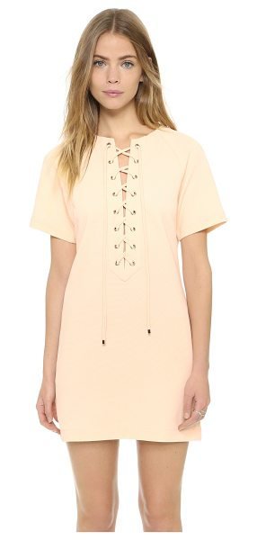 English Factory English Factory Lace Up Dress in nude pink - A lace up closure lends an alluring touch to this simple...