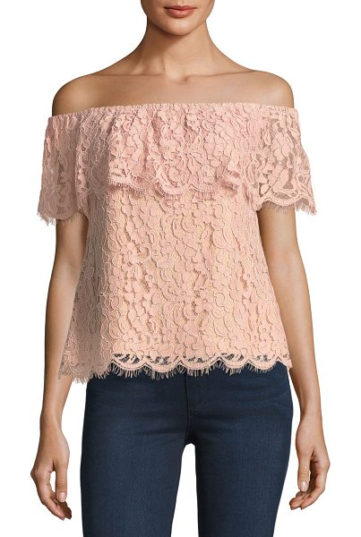 English Factory Off-the-Shoulder Lace Top in pink - English Factory top in floral lace. Elasticized...