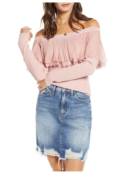 English Factory off the shoulder textured ruffle sweater in pink