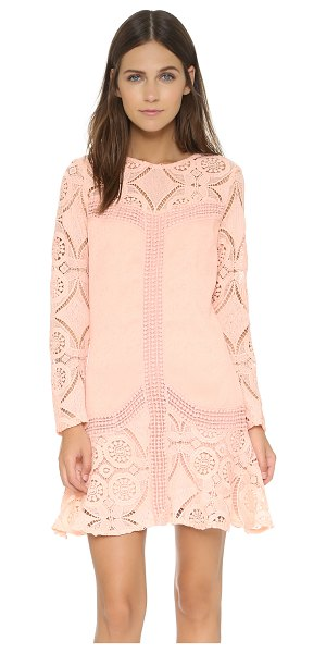 English Factory Pinky lace dress in pink - Crochet lace creates an illusion neckline on a detail...