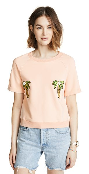 English Factory short raglan sleeve tee in khaki rose - Fabric: French terry Embroidered palm trees with beaded...