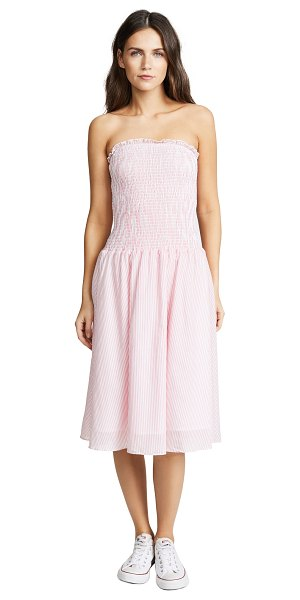 English Factory smocked dress in azalea pink - Fabric: Plain weave Smocked bodice Stripe pattern...