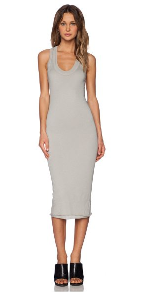 Enza Costa Bold doubled racer dress in taupe - 100% pima cotton. Raw edge trim. Racerback. ENZA-WD76....