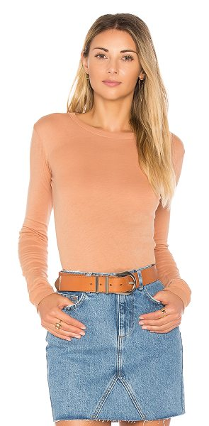 Enza Costa Bold Long Sleeve Crew Tee in camel - 100% pima cotton. Rib knit trim. Unfinished hem....