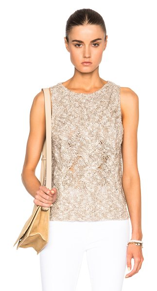 Enza Costa Cable Knit Shell Top in neutrals,brown - 37% linen 27% cotton 26% viscose 10% polyamide.  Made in...