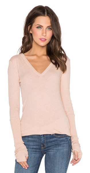 Enza Costa Cashmere cuffed v neck long sleeve tee in tan - 85% cotton 15% cashmere. Hand wash cold. Rib knit edges....