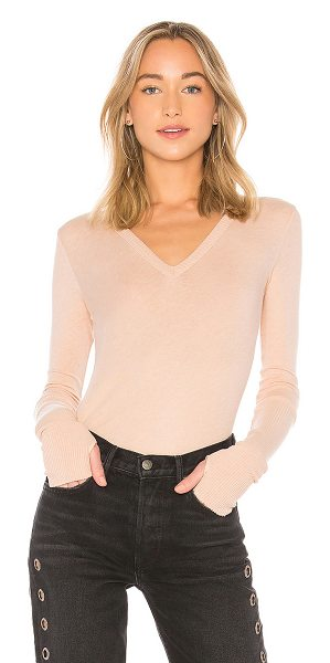 ENZA COSTA Cashmere Cuffed V Neck Top in pink - 85% cotton 15% cashmere. Hand wash cold. Knit fabric....