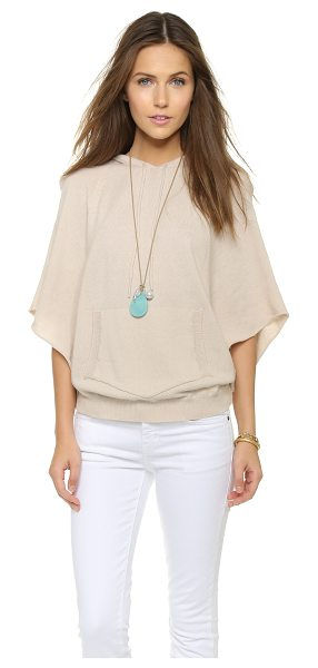 Enza Costa Cashmere poncho in sandshell - A hooded Enza Costa poncho in a luxe cashmere blend....