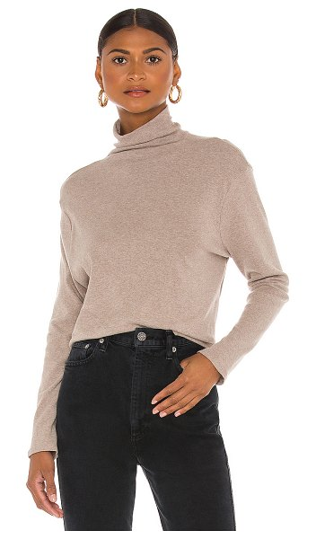 Enza Costa cotton rib long sleeve turtleneck in taupe