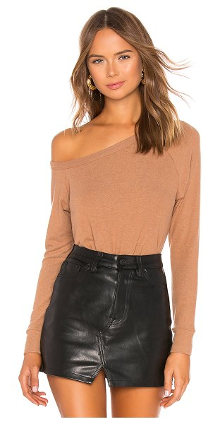 Enza Costa Easy Off The Shoulder Top in tan - 67% modal 29% poly 4% spandex. Hand wash cold. Brushed...