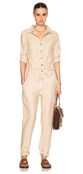 Enza Costa Long Sleeve Jumpsuit in neutrals - 56% tencel 44% linen.  Made in USA.  Button front...
