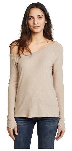 Enza Costa long sleeve off the shoulder top in khaki - Exclusive to Shopbop Fabric: Knit Pullover style...