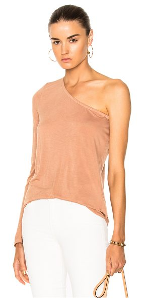 Enza Costa One Shoulder Top in neutrals - 90% rayon 10% silk.  Made in USA.  Machine wash. ...