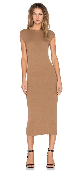 Enza Costa Rib cap sleeve dress in tan - Viscose blend. Hand wash cold. Unlined. Rib knit fabric....