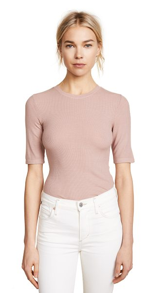 Enza Costa rib half sleeve pullover in rose petal - Fabric: Ribbed jersey Pullover style Waist-length style...