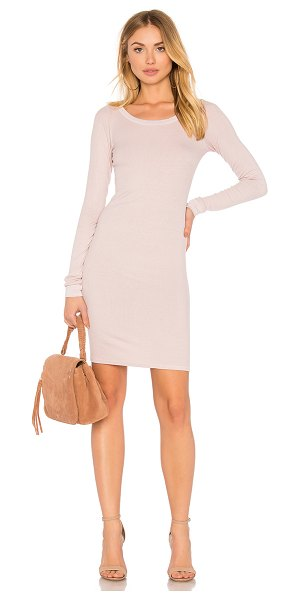 Enza Costa Rib Long Sleeve Dress in blush - 87% viscose 10% silk 3% lycra. Unlined. Rib knit fabric....