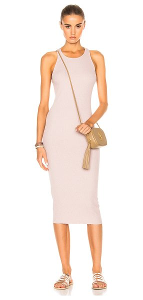 Enza Costa Rib Sheath Tank Midi Dress in pink,neutrals - 48% poly 38% cotton 11% rayon 3% spandex.  Made in USA. ...